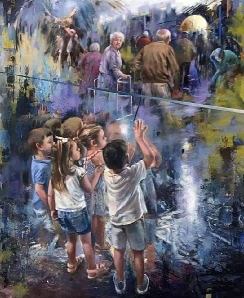 This painting was done in honor of all the deceased grandparents of the Codvid 19 and who 'were unable to say goodbye to their grandchildren 😔😔😔😔-Artist Juan Lucena, Spanish painter of JEREZ DE LA Border.