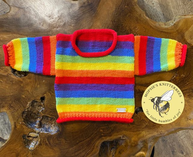 Mopsie's Pride Rainbow Handmade Knitted Baby Jumper from Mopsie's Knitterbees