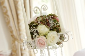 Wedding Candelabra White and Pink Flowers by Flower Monkey