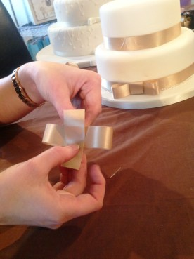 How to make a wedding cake bow Step 6 Cakes by Shelly