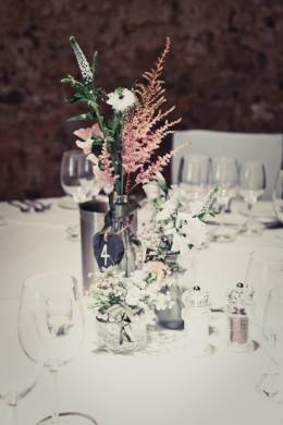 Rustic wedding table centrepiece