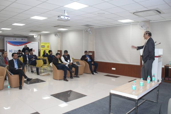 Dr. VK Singh addressing the IC InnovatorCLUB seventh meeting participants