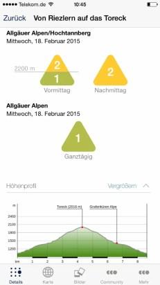 Ortovox Bergtouren App Lawinenwarnstufe4