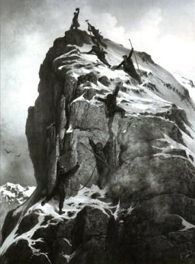 Erstbesteiger 1865 auf dem Matterhorngipfel in historischer Darstellung (Gustave Doré)