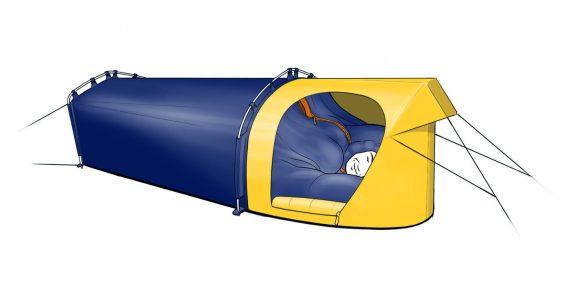 Polarmond® ALL-IN-ONE Biwak: Bestehend aus Schlafhülle und Biwakmodul. Leicht und kompakt, z. B. für den Einsatz im vorgeschobenen Basislager.