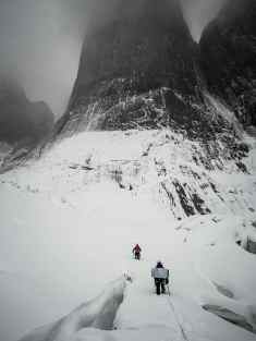 Ines Papert and Mayan Smith-Gobat approching the route riders on the storm in Torres del Paine