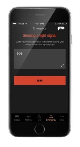 SOS-Modus: Nötigenfalls kann auf dem Smartphone eine kurze Nachricht eingegeben werden, die von der NAO + in Lichtsignale (Morsezeichen) umgewandelt wird
