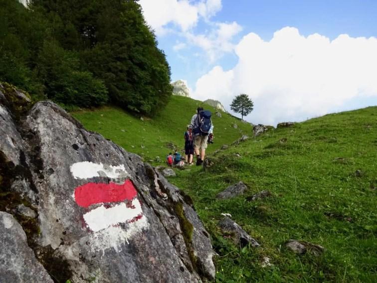 Kurz nach dem Start in Engelberg auf dem Weg nach Zingel