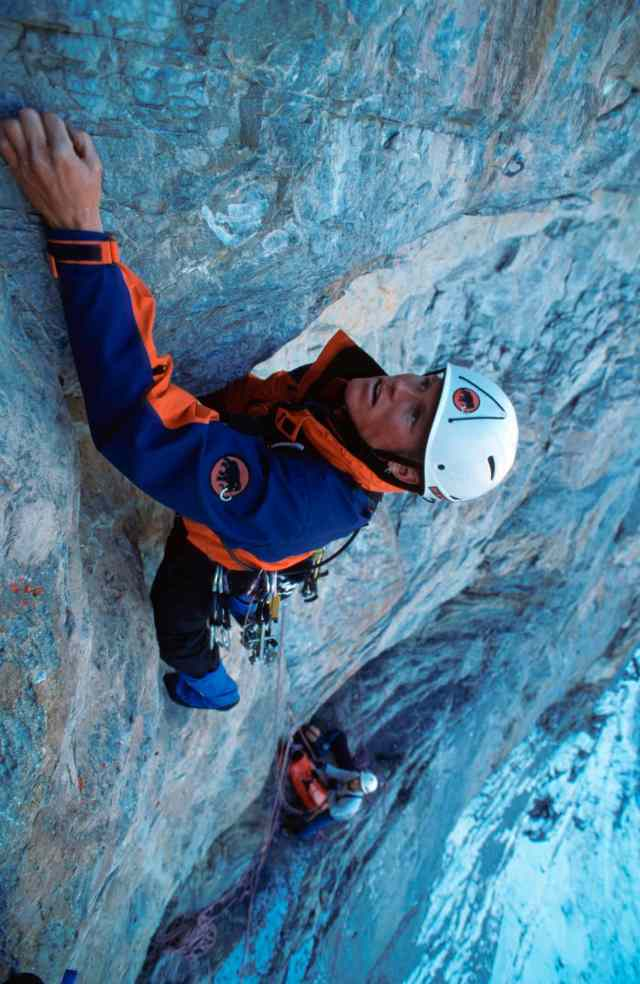 1995, Stephan Siegrist klettert die Route 'La vida es silbar' in der Eiger Nordwand