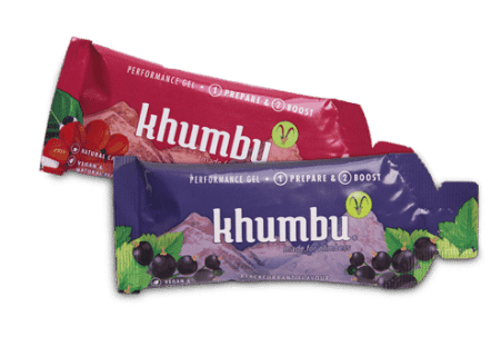 Khumbu Boost: Performance Gel Cola Guarana (Koffein) 34 ml und Blackcurrant Gel 34 ml