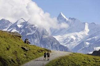 Wanderweg First - Bachalpsee, Blick zum Finsteraarhorn, Grindelwald aus Schweiz Baerentrek Berner Oberland; Foto: Conrad Stein Verlag/Iris Kürschner©