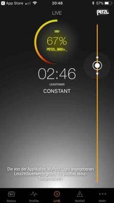 Petzl Nao+ App_Anzeige Akku Constant Lightning 04