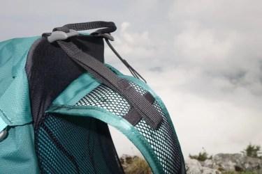 Hier wird die Alurahmen Konstruktion ersichtlich. Der Hikelite hat Lageverstellriemen an den Schultergurten, mit denen die Rückenlänge variiert werden kann.