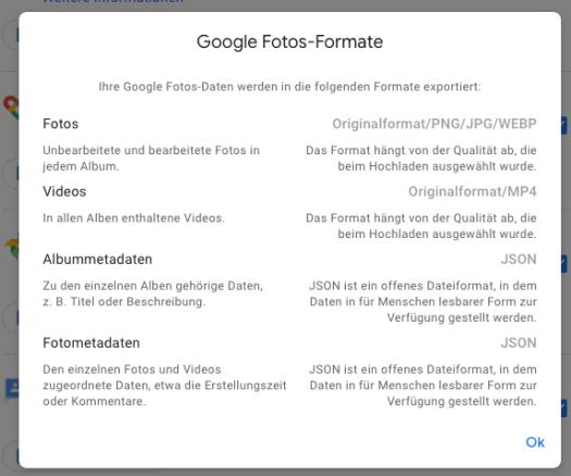 Übersiche, welche Formate zum Download angeboten werden: Fotos, Videos und Metadaten.