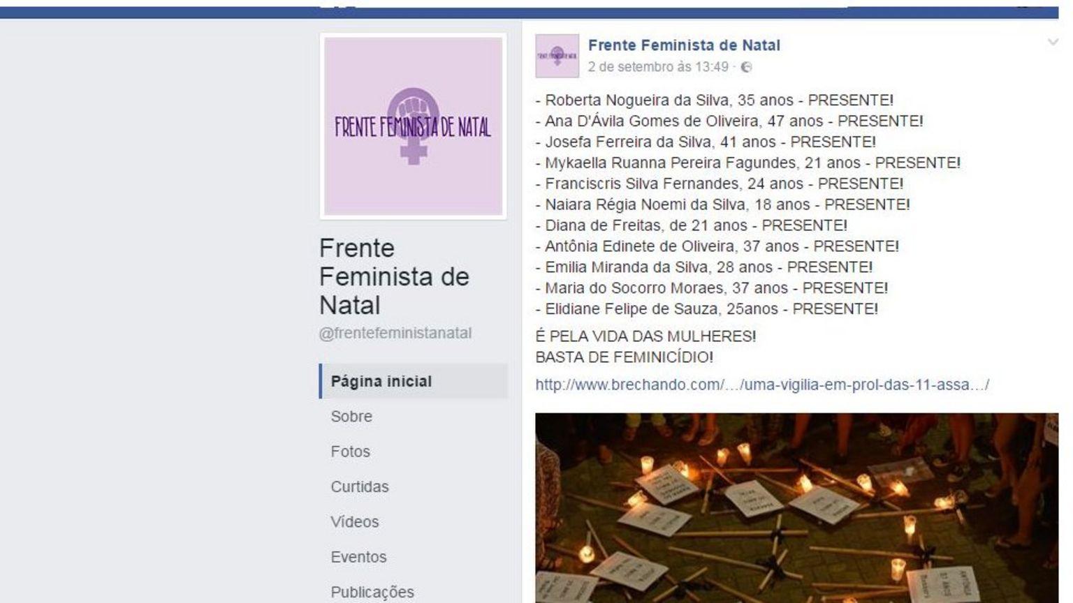 Rede Feminista de Natal faz homenagens a vítimas de feminicídio