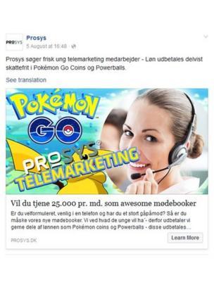 Anuncio de Prosys en Facebook