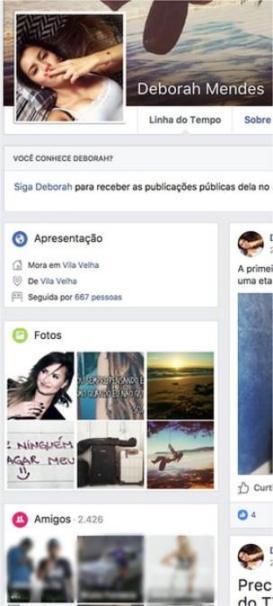 Captura de tela de perfil identificado como falso no Facebook