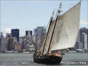 Sailor Reid Stowe sails his 70 ft. gaff-rigged schooner