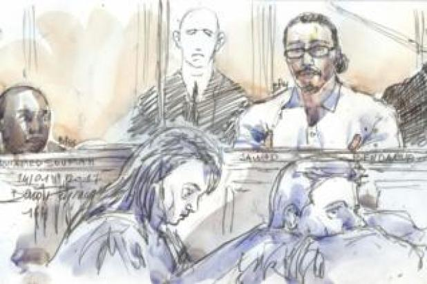 This courtroom sketch created at the Palais de Justice court in Paris on 24 January 2018 shows Jawad Bendaoud in the dock