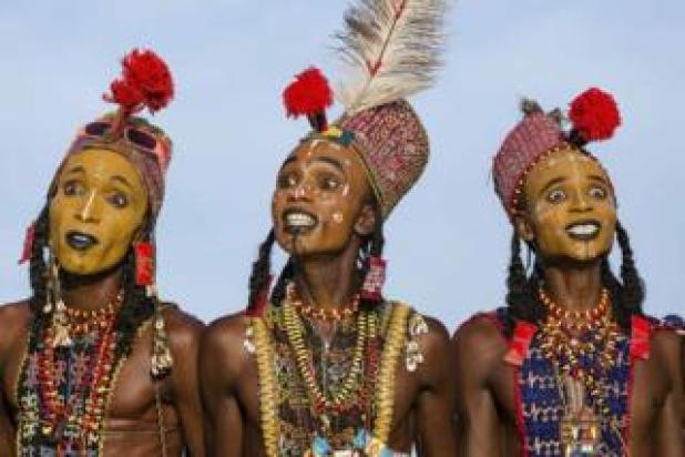 Wodaabe men perform ritual Yaake dance
