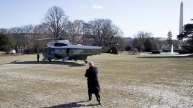 US President Donald J. Trump walks across the South Lawn to depart by Marine One - 5 January 2018