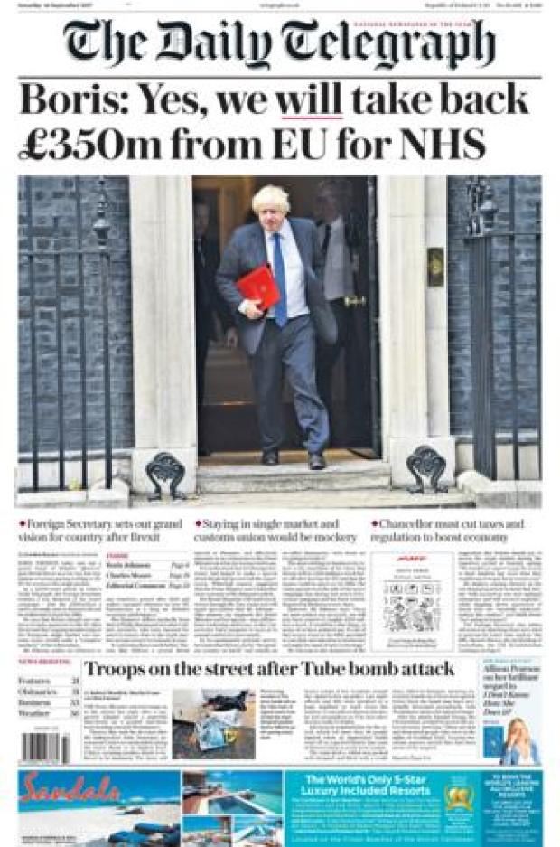 Daily Telegraph front page 16/09/2017