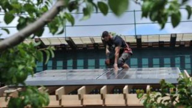 installation of a solar panel