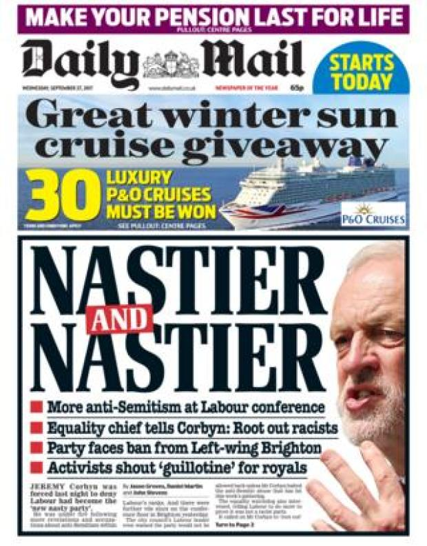 Daily Mail front - 27/9/17