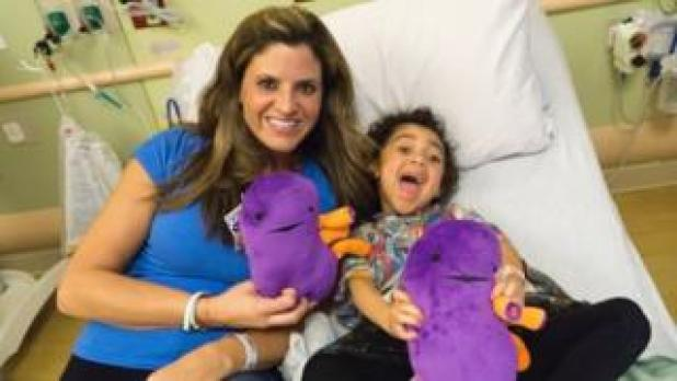 Beth Battista (left) with Lyla in hospital