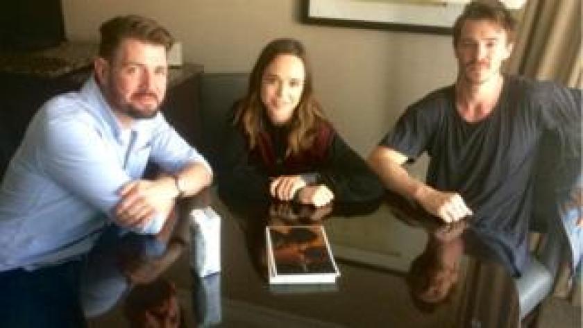 L-R: David Freyne, Ellen Page, Sam Keeley