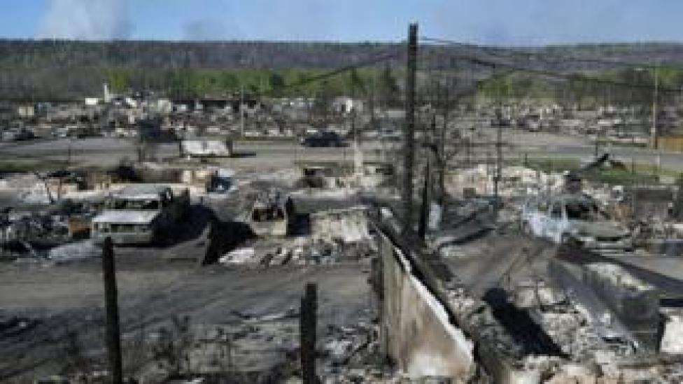 Fire damage in Fort McMurray, Alberta, Canada, 14 May 2016