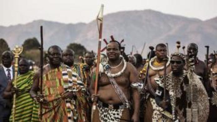 King Mswati III with his retinue in Swaziland