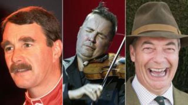 Nigel Mansell, Nigel Kennedy and Nigel Farage