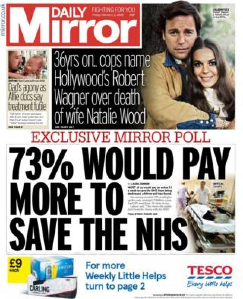 Daily Mirror front page - 02/02/18