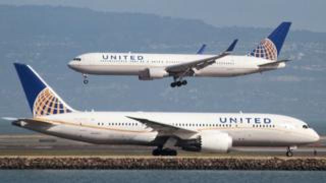 United Airlines Boeing 787 aircraft at San Francisco International Airport, California, 7 February 2015