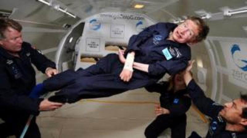 In this file photo taken on April 26, 2007 and released by Zero G, British cosmologist Stephen Hawking experiences zero gravity during a flight over the Atlantic Ocean