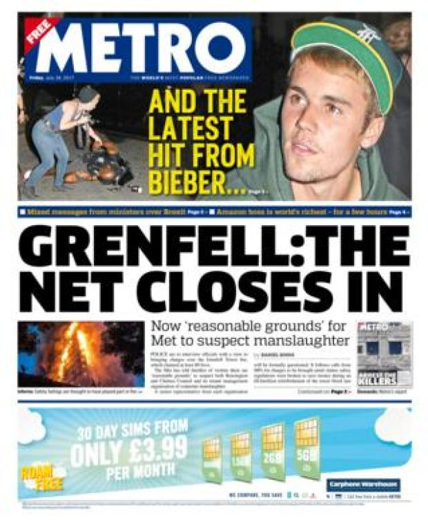Metro front page - 28/07/17