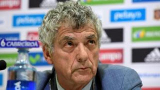 This file photo taken on July 21, 2016 shows President of the Spanish football federation, Angel Maria Villar,