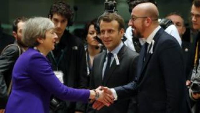 May meets France's Emmanuel Macron and Belgium's Charles Michel