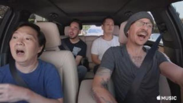 Chester Bennington (front right) in Apple Music's Carpool Karaoke days before his death in July