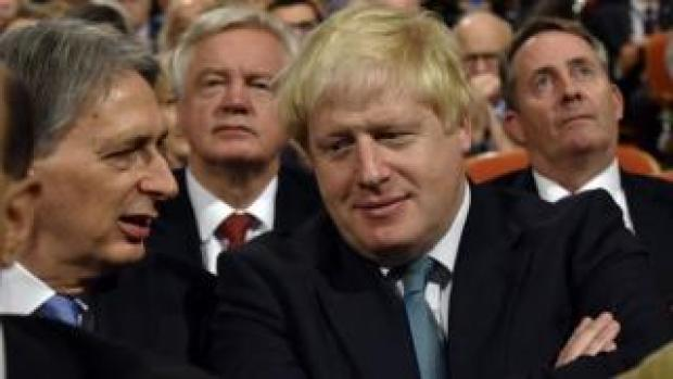 Boris Johnson, Philip Hammond, Liam Fox and David Davis at last year's Conservative party conference