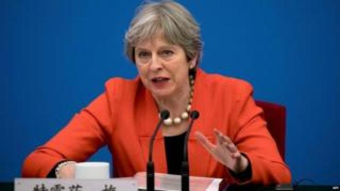 Theresa May speaking in China on second day of three day visit