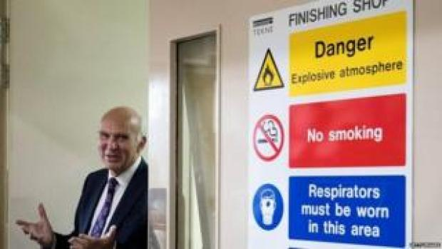 Vince Cable visiting a local business on the eve of his keynote speech