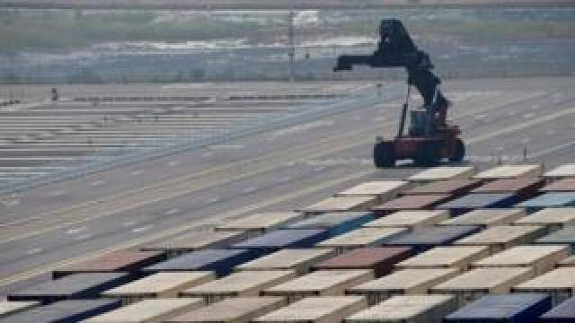 Hanjin Shipping container terminal at Incheon New Port in Incheon, South Korea,
