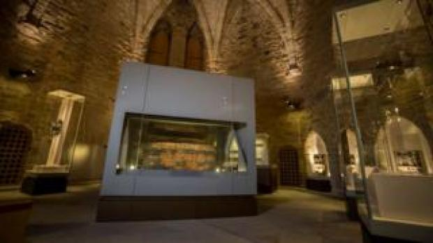 St Cuthbert's coffin on display in the Great Kitchen