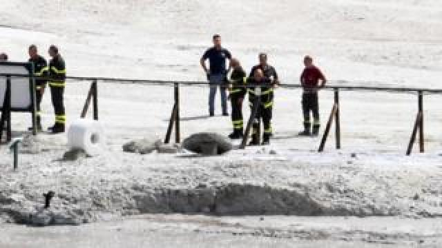 Rescuers arrive at Solfatara di Pozzuoli where three people died in the crater at Pozzuoli, Naples, Italy, 12 September 2017