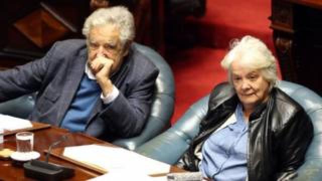 Lucia Topolansky (R) and her husband, former President and senator Jose Mujica (L) Montevideo, Uruguay, 13 September 2017
