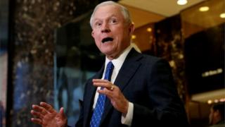 Senator Jeff Sessions speaks to members of the media in the lobby of Trump Tower in the Manhattan.