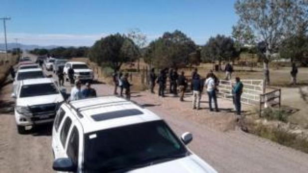 """General view during the police operation at the ranch of US citizen Orson William Black Jr. alleged """"fugitive of the American justice for badual crimes"""" and leader of a sect called """"La Comuna"""" in Cuauhtemoc, Chihuahua state, Mexico on November 5, 2017."""