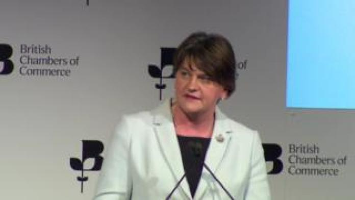 Arlene Foster speaking in London at the British Chambers of Commerce on Thursday.